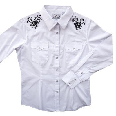 画像1: パンハンドルスリム ローズ刺繍 ウエスタンシャツ ホワイト・ブラック(レディース・長袖)M/Panhandle Slim Long Sleeve Western Shirts White/Black(Women's)