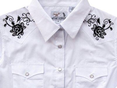 画像2: パンハンドルスリム ローズ刺繍 ウエスタンシャツ ホワイト・ブラック(レディース・長袖)M/Panhandle Slim Long Sleeve Western Shirts White/Black(Women's)