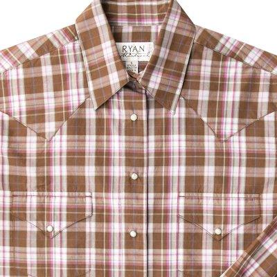 画像2: ライアン マイケル シルクブレンド ウエスタン シャツ(ブラウン/ピンク・長袖)S/Ryan Michael Long Sleeve Western Shirt(Women's)