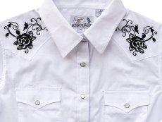 画像2: パンハンドルスリム ローズ刺繍 ウエスタンシャツ ホワイト・ブラック(レディース・長袖)M/Panhandle Slim Long Sleeve Western Shirts White/Black(Women's) (2)