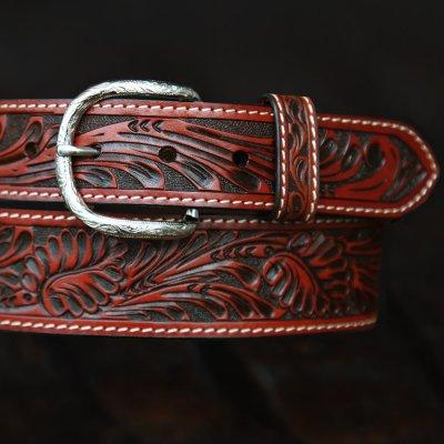 画像2: ウエスタン レザーベルト(テーパード ・ブラウン)/Western Leather Belt(Cognac)