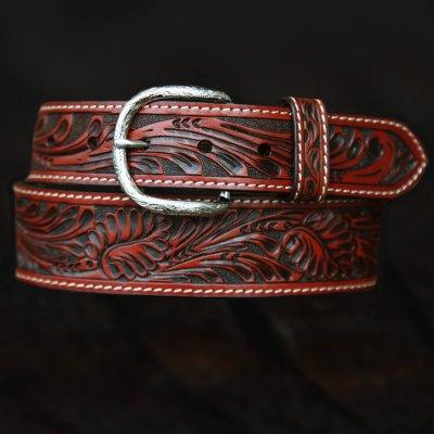 画像1: ウエスタン レザーベルト(テーパード ・ブラウン)/Western Leather Belt(Cognac)