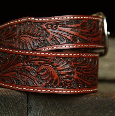 画像3: ウエスタン レザーベルト(テーパード ・ブラウン)/Western Leather Belt(Cognac)