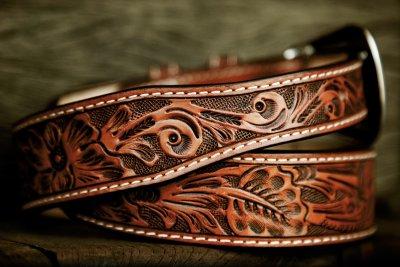 画像3: フローラル テーパード ウエスタン レザーベルト(ブラウン)/Western Leather Belt(Brown)