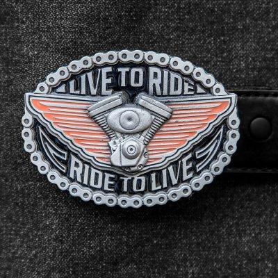 画像1: アメリカン バイカー バックル LIVE TO RIDE RIDE TO LIVE/American Biker Belt Buckle