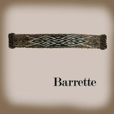 画像1: ホースヘアー バレッタ(ブラウン)/Barrette