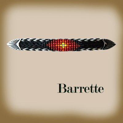 画像1: ホースヘアー&ビーズ バレッタ(ブラック・コーラル)/Barrette