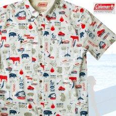 画像1: コールマン バーベキュー 半袖 シャツ(レッド・ホワイト・ブルー)/Coleman BBQ Print Short Sleeve Shirt (1)