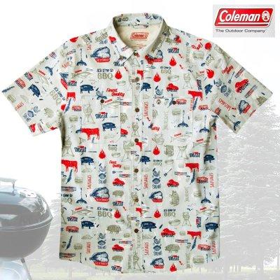画像1: コールマン バーベキュー 半袖 シャツ(レッド・ホワイト・ブルー)/Coleman BBQ Print Short Sleeve Shirt