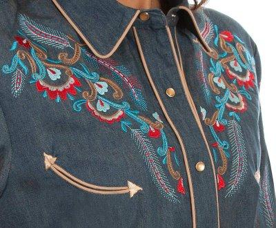 画像2: スカリー 刺繍 ウエスタン シャツ(長袖/デニム・フェザー&フラワー)/Scully Long Sleeve Western Shirt(Women's)