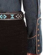 画像4: スカリー 刺繍 ウエスタン シャツ(長袖/デニム・フェザー&フラワー)/Scully Long Sleeve Western Shirt(Women's) (4)