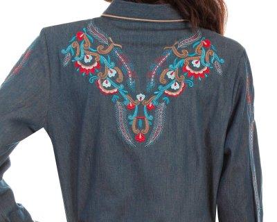 画像3: スカリー 刺繍 ウエスタン シャツ(長袖/デニム・フェザー&フラワー)/Scully Long Sleeve Western Shirt(Women's)