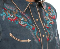 画像2: スカリー 刺繍 ウエスタン シャツ(長袖/デニム・フェザー&フラワー)/Scully Long Sleeve Western Shirt(Women's) (2)