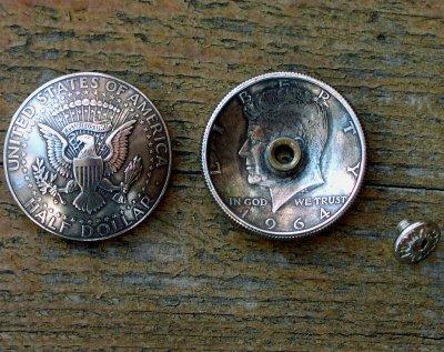画像2: イーグル・50¢リバティウォーキングコインコンチョ(リバース)/50Cent LIBERTY WALKING COIN CONCHO(Reverse/Eagle)・31mm