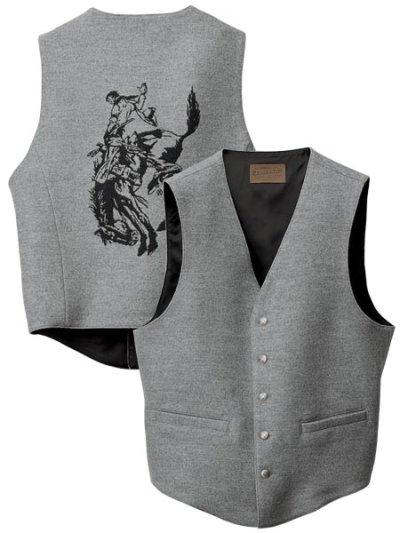 画像1: ペンドルトン ハイグレード ウエスタン ウールベスト(グレー)/Pendleton Round-Up Wool Vest(Gray mix)