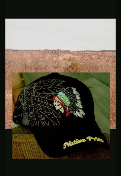 画像1: ネイティブプライド キャップ・インディアンデザイン・ブラック/Native Pride Cap Indian