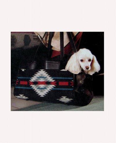 画像1: ペンドルトン・ウール・レザーペットキャリア(ブラックホワイト)/Pendleton Wool Leather Pet Carrier(Blk Wht)