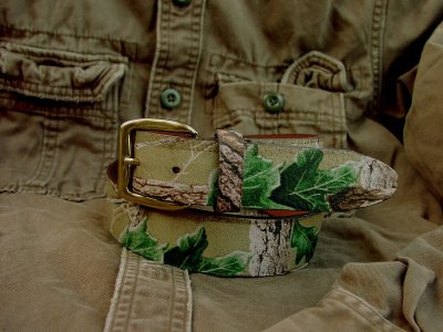画像1: カモ柄レザーベルト/Camo Design Leather Belt