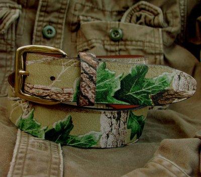 画像2: カモ柄レザーベルト/Camo Design Leather Belt
