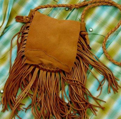 画像1: ディアスキン フリンジ ショルダーバッグ(サドル)/Deerskin Fringe Shoulder Bag(Saddle)