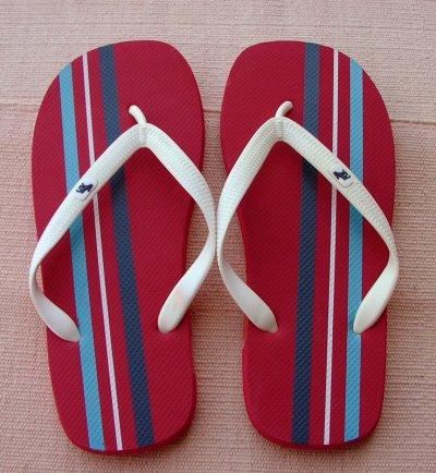 画像1: アバクロンビー&フィッチ ビーチサンダル レッド/ストライプ(メンズ)/Abercrombie&Fitch Flip Flop Red Stripe(Mens)