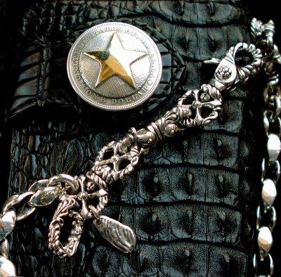 画像1: ファニー ライダースウォレット(ホーンバックナイルクロコダイル・ブラック/1$モーガンスター・SLOW265000)/Funny Rider's Wallet(Horn Back Nile Crocodile・Black/1$MorganSTAR)