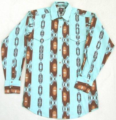 画像1: パンハンドルスリム ウエスタンシャツ・ライトターコイズ(長袖)S/Panhandle Slim Long Sleeve Western Shirt(Light Turquoise)
