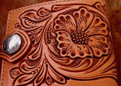 画像1: ファニー コインヘッド ビルフォード ハンドクラフト・Hand Craft(Tan Antique)/Funny Coin Head Billfold