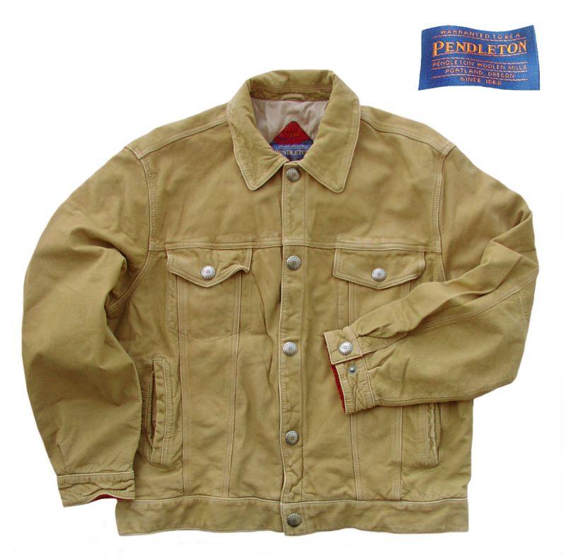画像1: ペンドルトン ハンドセレクト100% バッファロー レザー ジャケット /Pendleton Buffalo Hide Jacket (1)