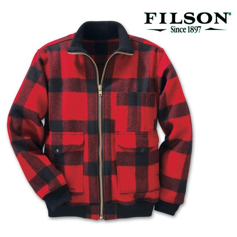 画像1: フィルソン ドゥワミッシュ ウール ボマー ジャケット(レッド×ブラック)/Filson Duwamish Wool Bomber Jacket Red Black
