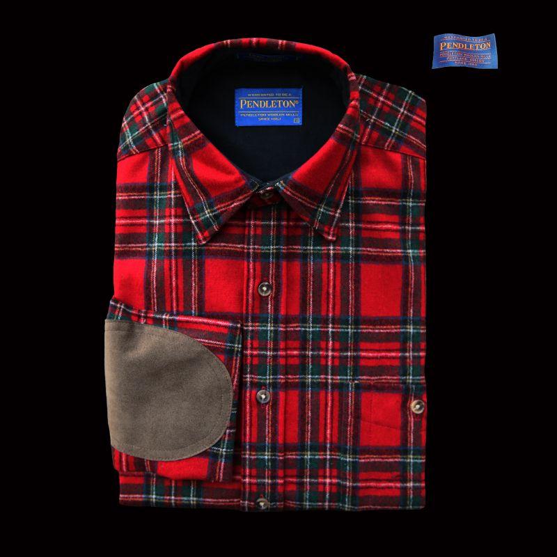画像1: ペンドルトン ウール シャツ・エルボーパッチ トレイルシャツXL/Pendleton Trail Shirt (Red Stewart Tartan)