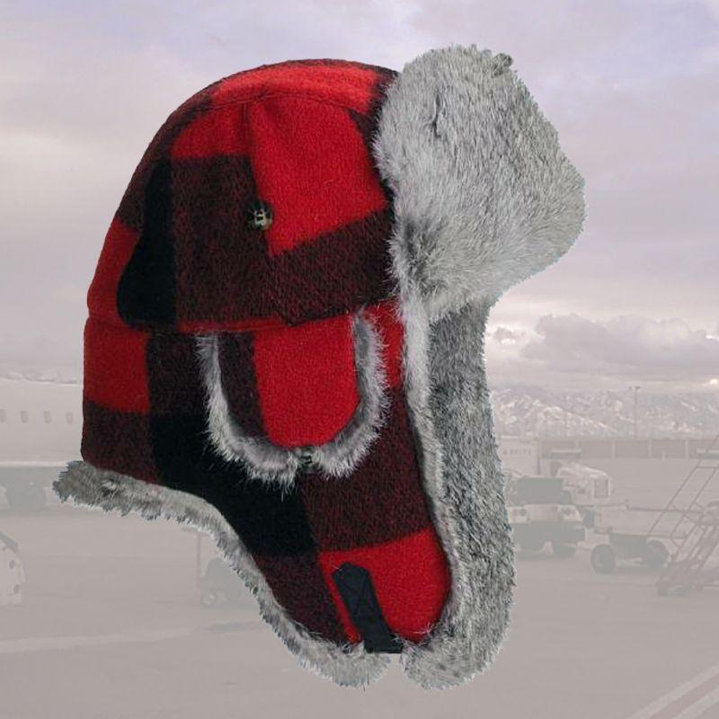 画像1: マッド ボンバー ハット 帽子 (ラビット ファー&ウール  レッド×ブラック=バッファローチェック)/Mad Bomber Hat(Wool) (1)