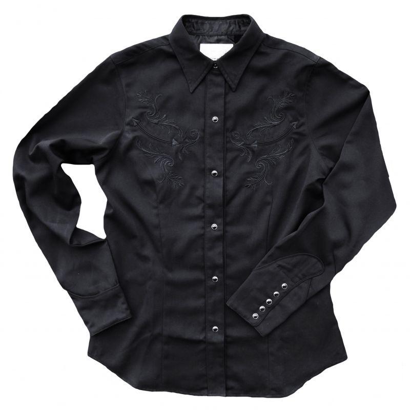 画像1: エレガントなブラック刺繍のウエスタン シャツ ブラック(長袖)S/Long Sleeve Western Shirt(Women's)