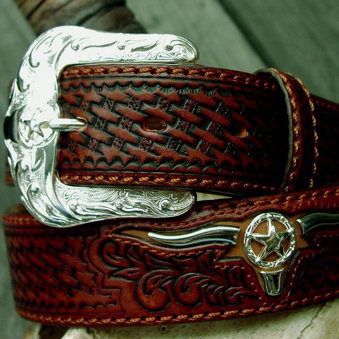 画像1: ジャスティン ロングホーンコンチョ ベルト(ブラウン)/Justin Longhorn Concho Belt(Brown)
