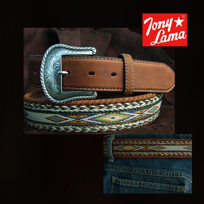 画像1: トニーラマ ベルト ホースヘアー&テープ(ブラウン)/Tony Lama Leather Belt(Brown) (1)