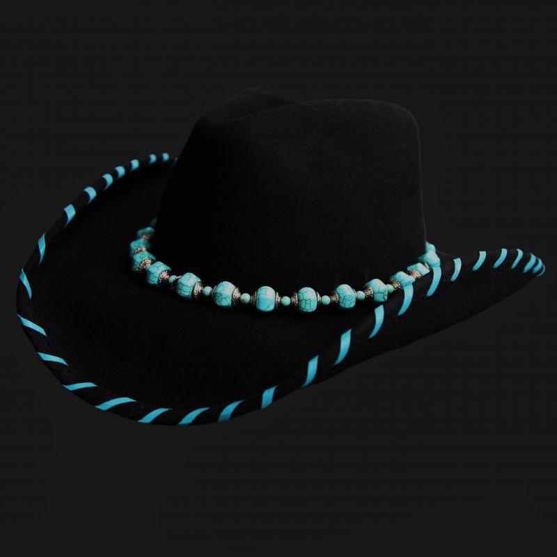 画像1: ウール ウエスタンハット ターコイズレジェンド(ブラック)/Western Hat(Black) (1)