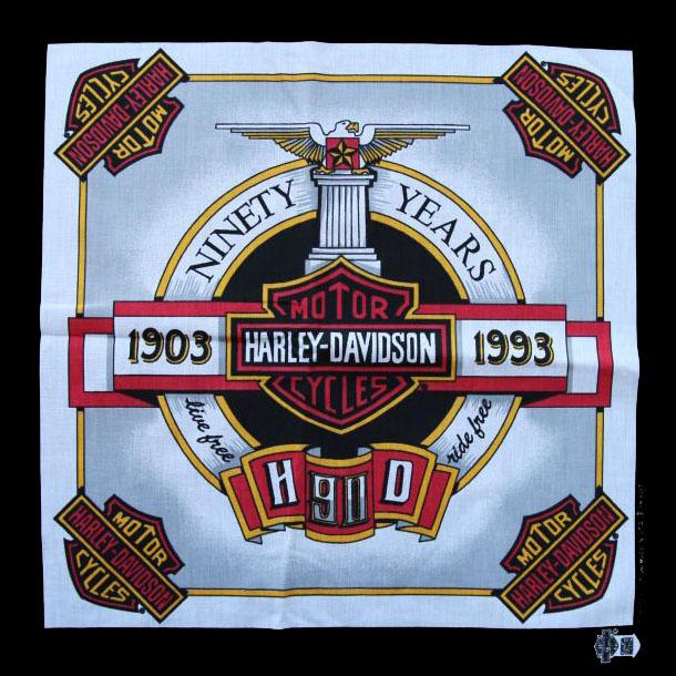 画像1: ハーレーダビッドソン バンダナ(90Years 1903-1993)/Harley Davidson Bandana (1)