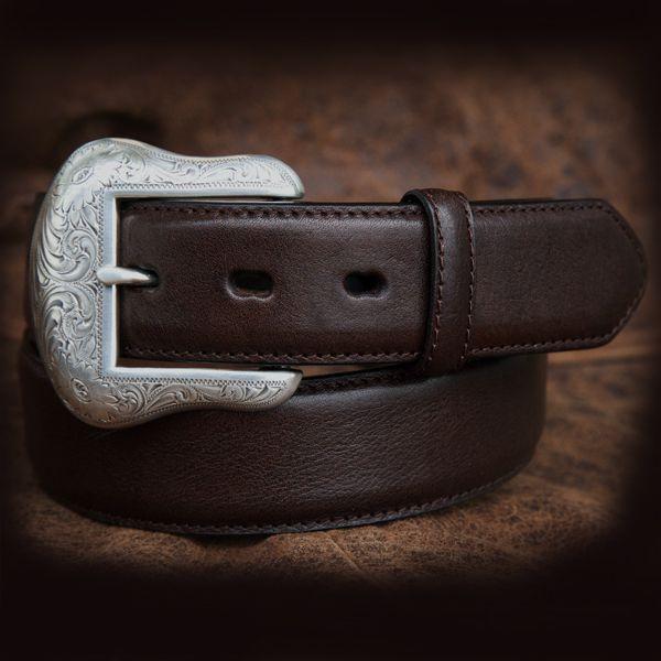 画像1: ウエスタン レザー ベルト ブラウン/Leather Belt(Brown) (1)