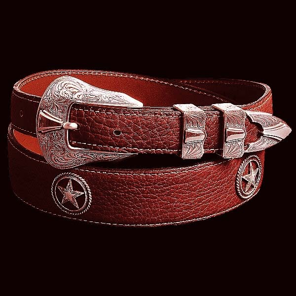 画像1: アメリカンバイソン(バッファロー)ハンドメイド4ピースベルト(レッドブラウン)34/4Piece Belt(Red Brown) (1)