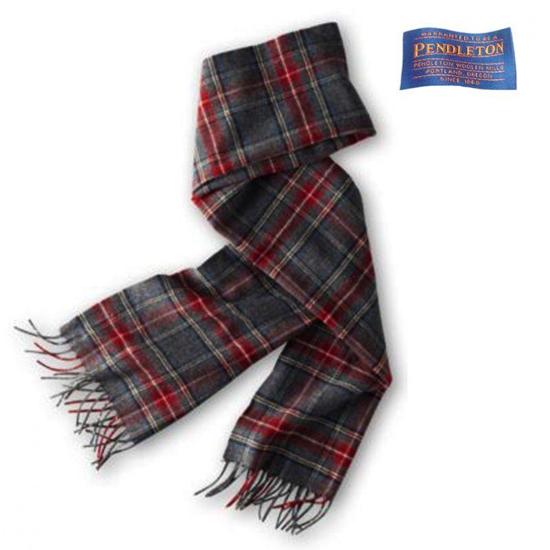 画像1: ペンドルトン ピュアバージンウール マフラー(スチュワート チャコール タータン)/Pendleton Pure Virgin Wool Muffler(Stewart Charcoal Tartan) (1)