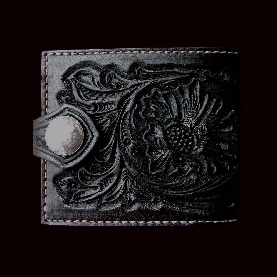 画像1: ファニー コインヘッド ビルフォード ハンドクラフト・Hand Craft(Black)/Funny Coin Head Billfold (1)