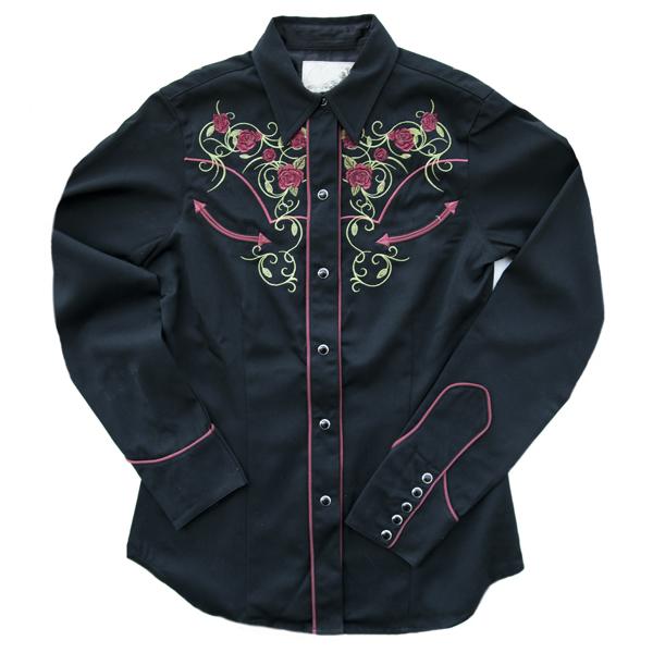 画像1: 刺繍 ウエスタン シャツ ブラック・ローズ(長袖)/Long Sleeve Western Shirt(Women's)