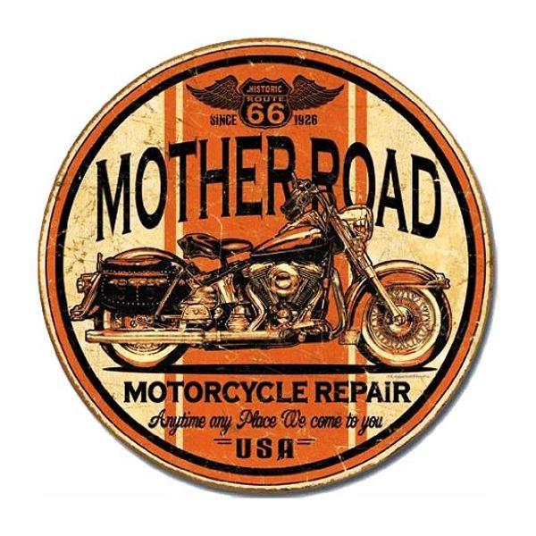 画像1: ルート66 Route66 マザーロード モーターサイクル リペアー メタルサイン (1)