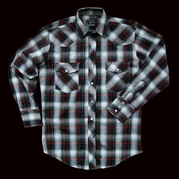 画像1: ローパー ウエスタンシャツ(ブラック・ホワイト・レッド/長袖)/Roper Long Sleeve Western Shirt (1)