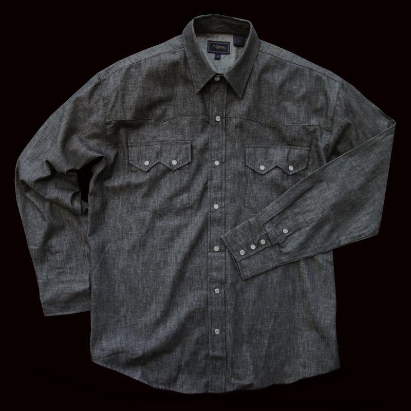 画像1: ローパー ウエスタン デニム シャツ ブラック(長袖)/Roper Long Sleeve Western Shirt(Black)