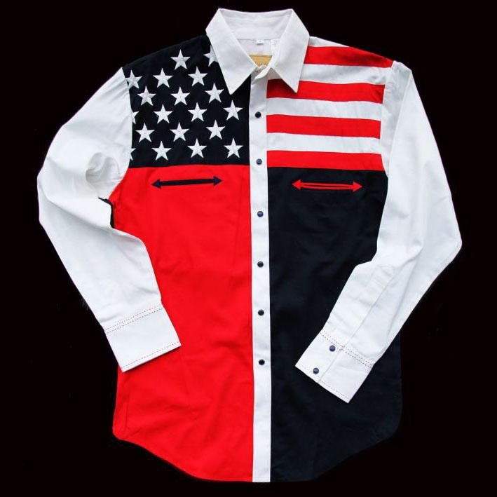 画像3: スカリー USA 刺繍シャツ(メンズ 長袖/アメリカンフラッグ)/Scully Long Sleeve Western Shirt