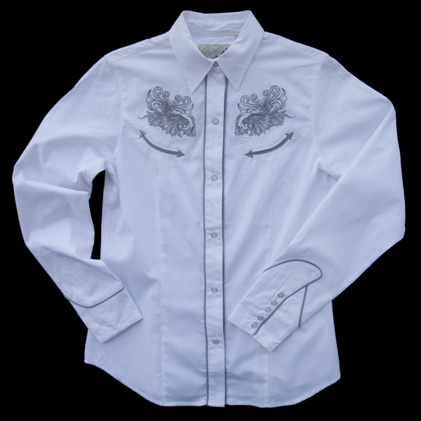 画像1: ウエスタン 刺繍シャツ ホワイト/(長袖)/Long Sleeve Western Shirt(Women's)