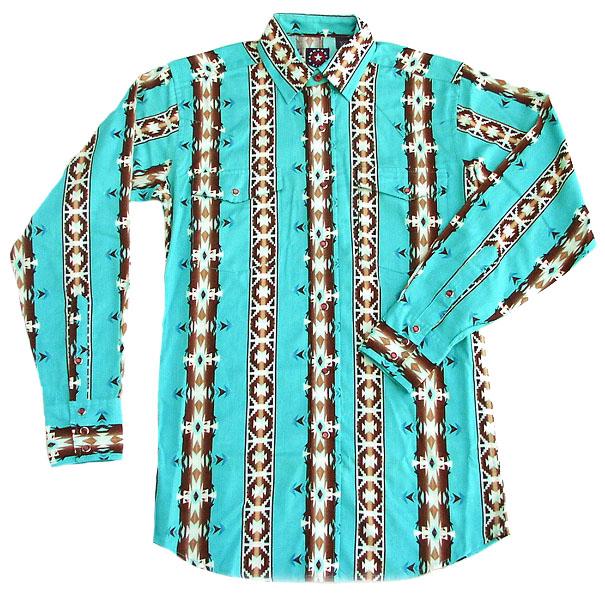 画像1: パンハンドルスリム ウエスタンシャツ・ターコイズ〜ブラウン(長袖)/Panhandle Slim Long Sleeve Western Shirt(Turquoise・Brown) (1)