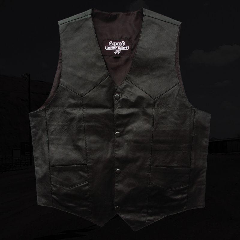 画像1: ウエスタン レザー ベスト(ブラック)/Western Leather Vest(Black) (1)