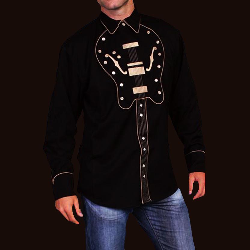 画像1: スカリー ウエスタン刺繍シャツ ギター(長袖/ブラック)/Scully Long Sleeve Embroidered Western Shirt